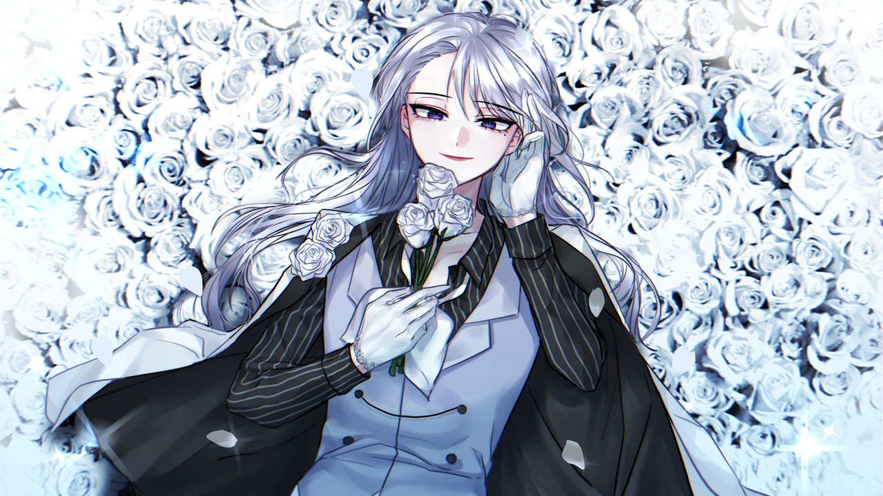 Illust of 그쉬 | グッシュ geuswi medibangpaint 銀髪 rose white flower