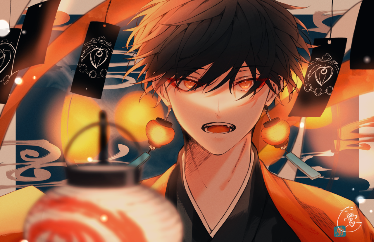 篝火 Illust of 鷽 boy Japanese_style 提灯 original