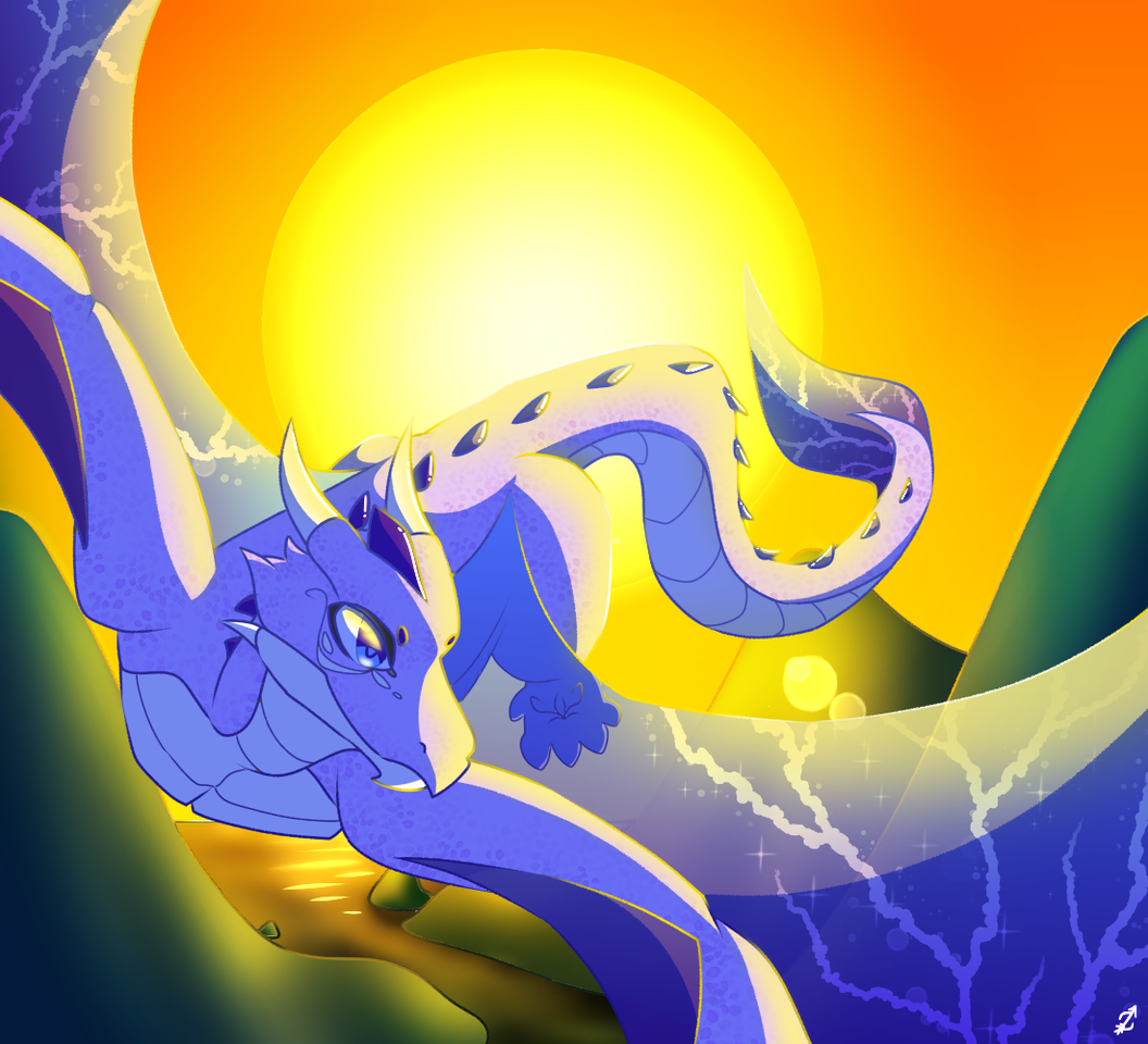 Request from another platform- Illust of Zyvra Dragonfyre medibangpaint request flying oc dragon sunset furry