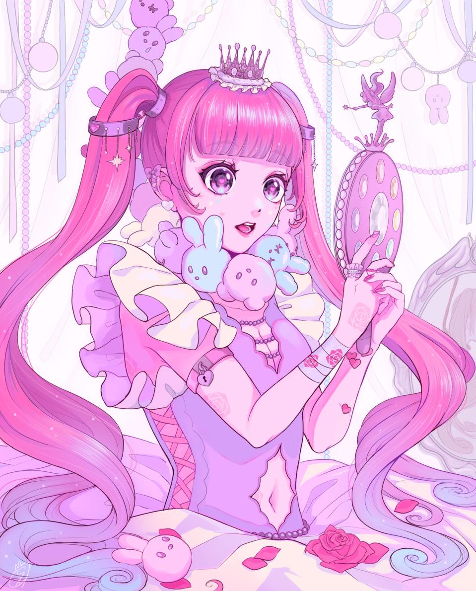 BEAUTIFUL Illust of しずか pink girl original illustration ゆめかわいい