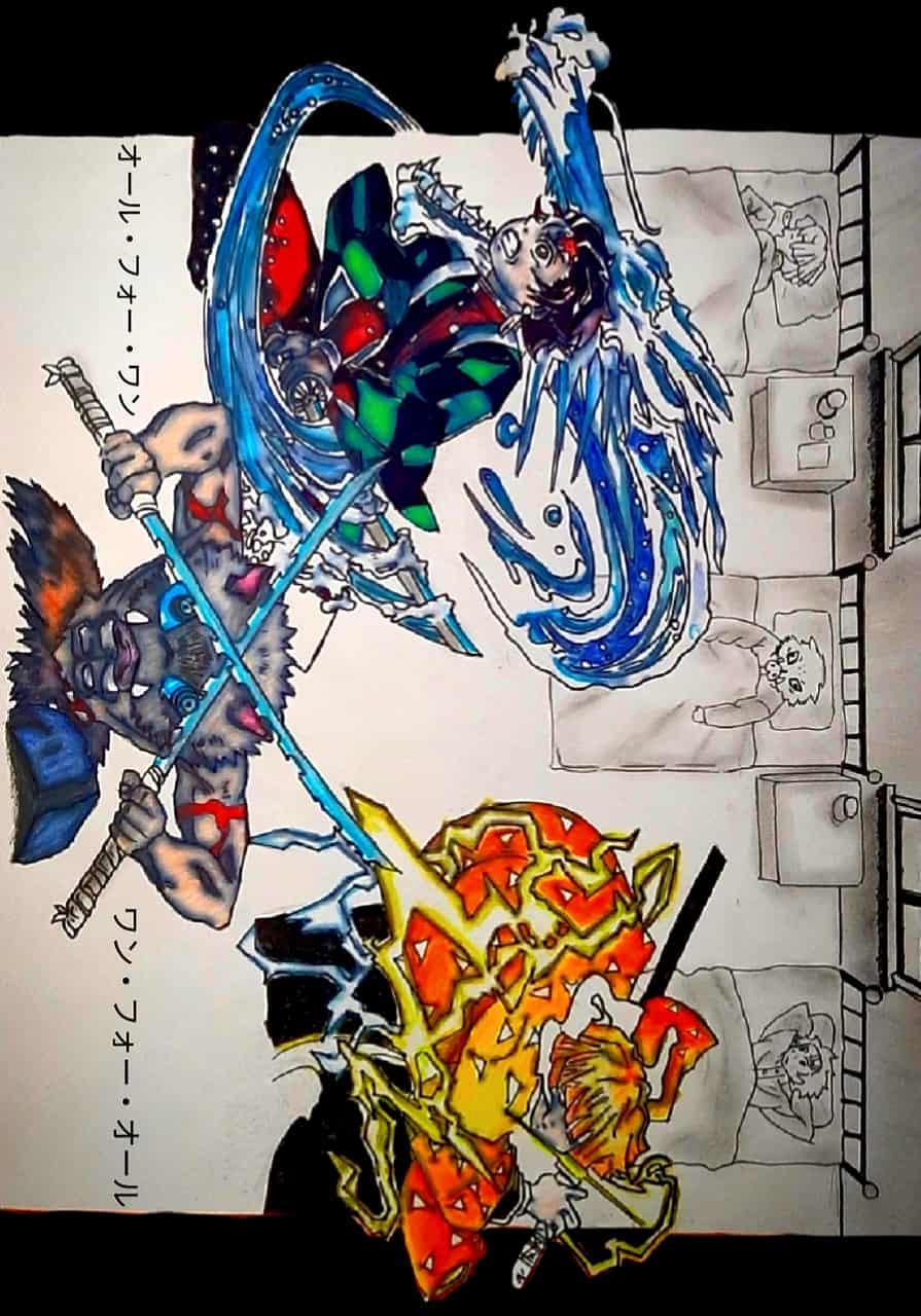 All for one,One for all Illust of AnubisDrake21 DemonSlayerFanartContest KimetsunoYaiba
