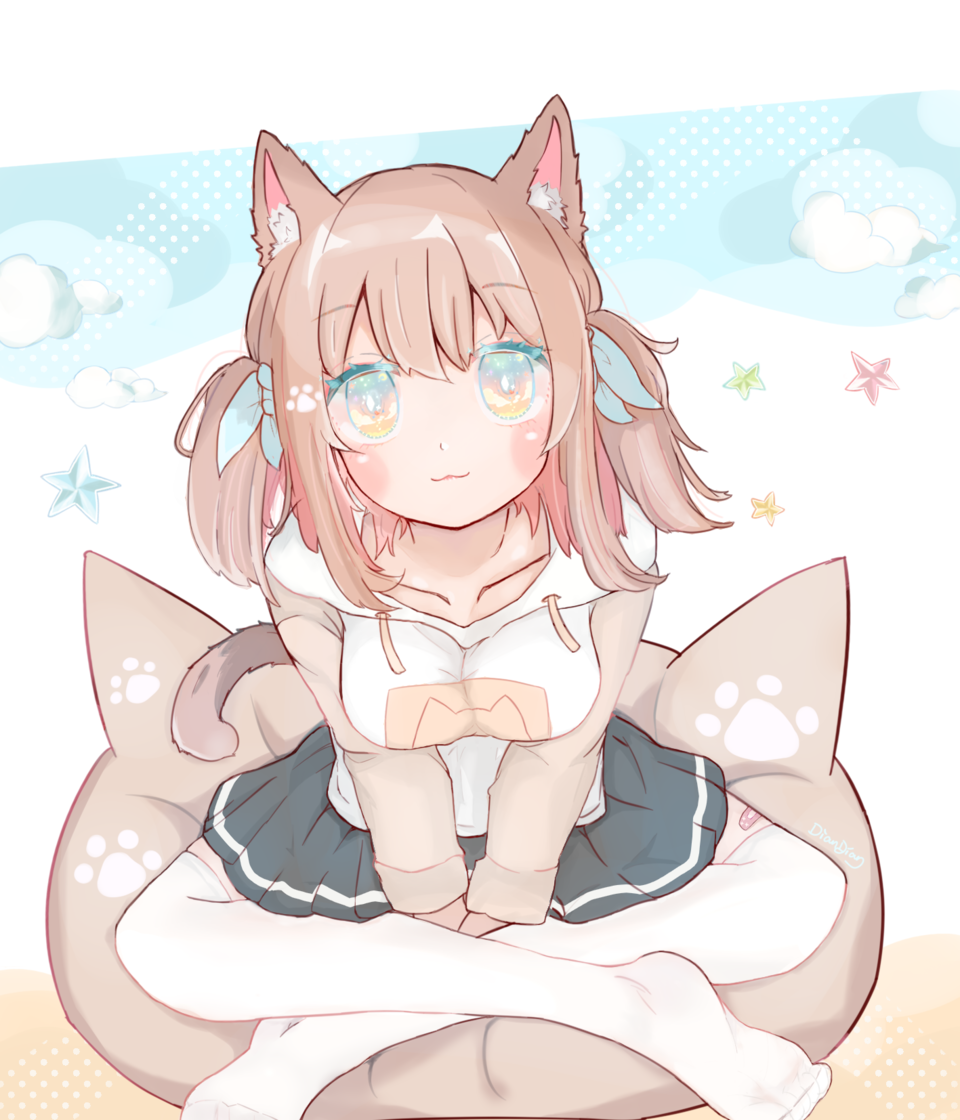 Nekomusu Illust of Dianain original girl hoodie cat_ears