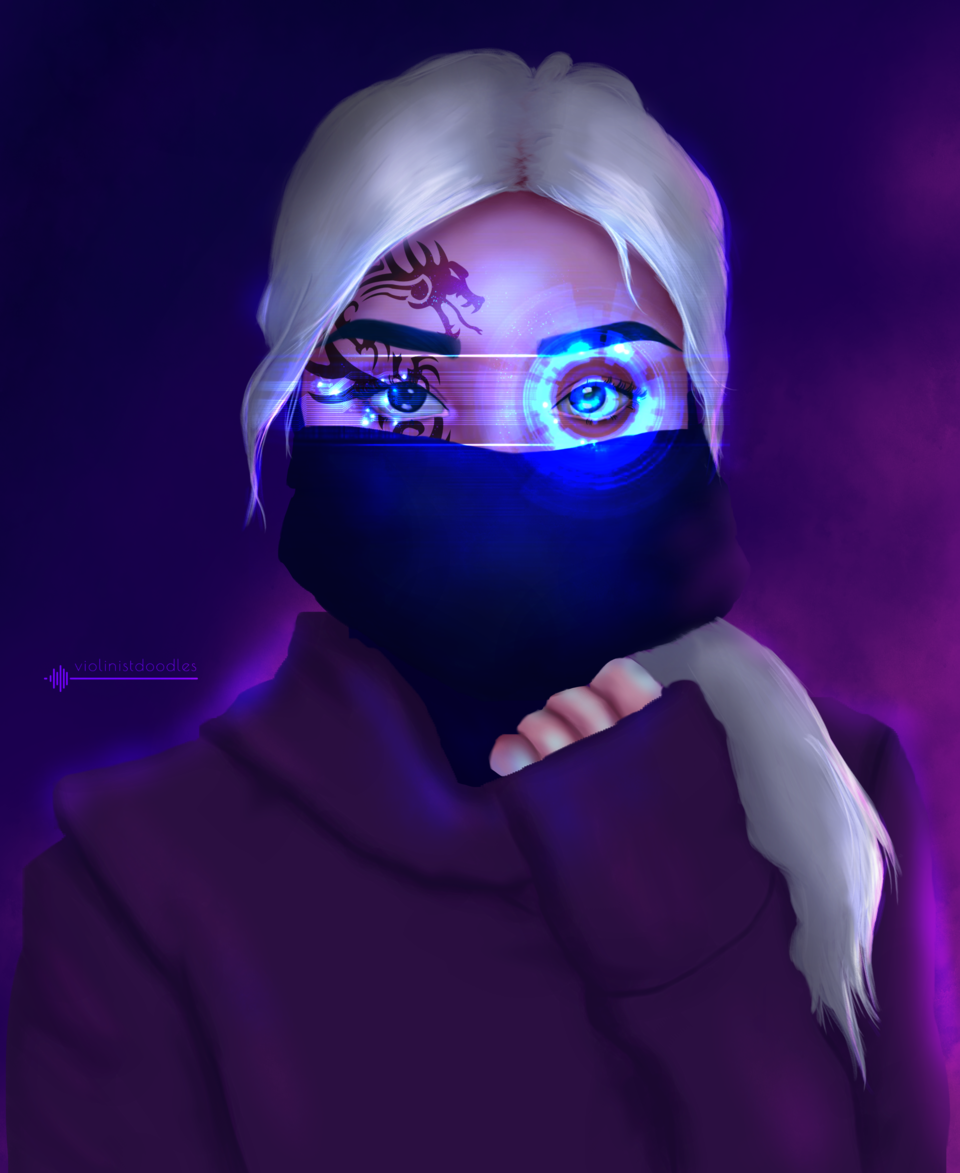 Social Distancing Illust of ryjeeartz November2020_Contest:Cyberpunk cyberpunk quarantine hoodie Dystopia mask whitehair portrait edgy Badass tattoo