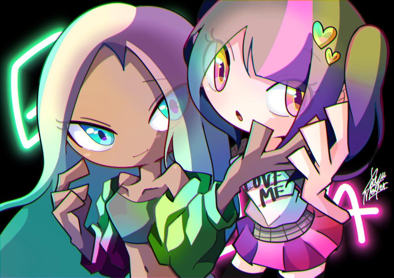Grace and Nova Illust of Yuyu Meyer January2021_Contest:OC cartoon girl couple oc