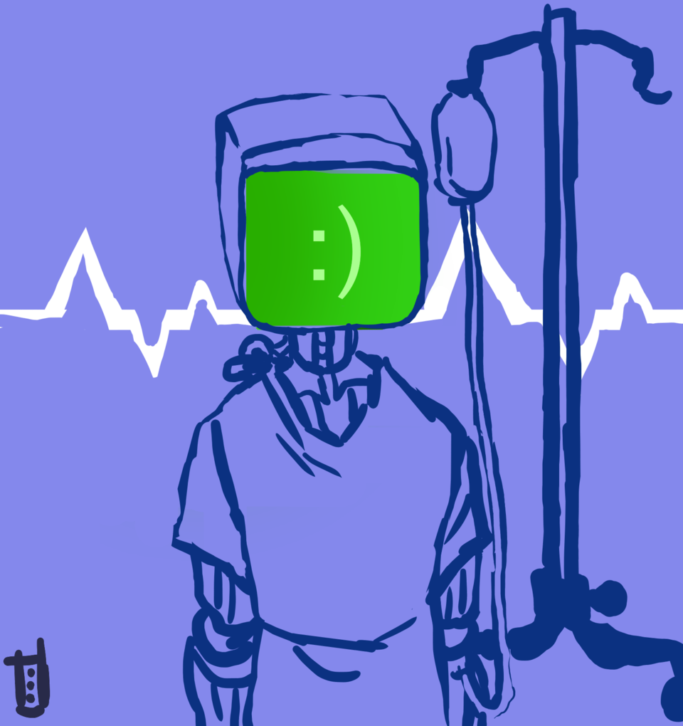 hospitalized Illust of *Neon_Punk* sad Artificial sketch hospital odd mimic art wierd 13 Artwork