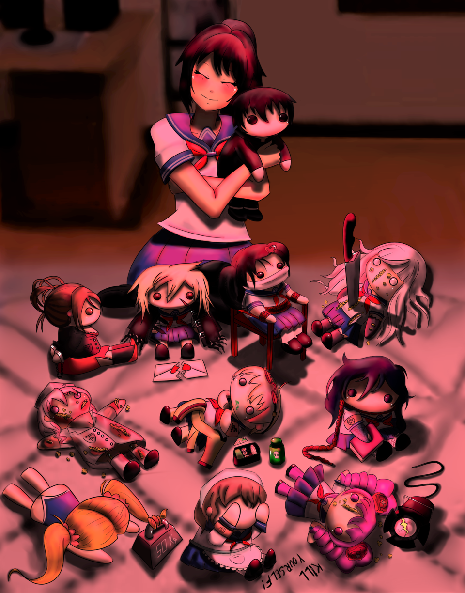 Yandere-Chan playing with dolls  Illust of vjolq_ YandereSimulatorFanArtContest YandereSimulator Yandere Lovesick yanderechan yanderesimulator Ayano ayanoaishi Senpai
