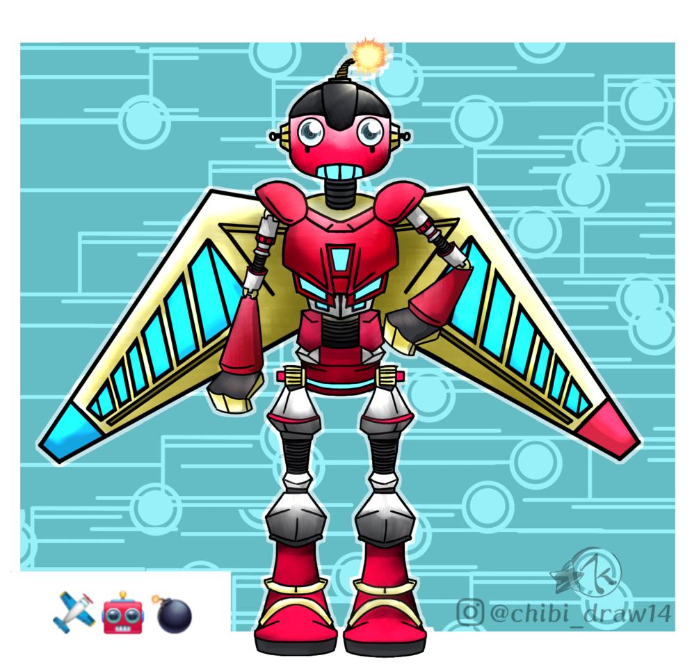 OC Robot Illust of Karenhc March2021_Creature art superhero drawing robot oc original illustration mecha color digital