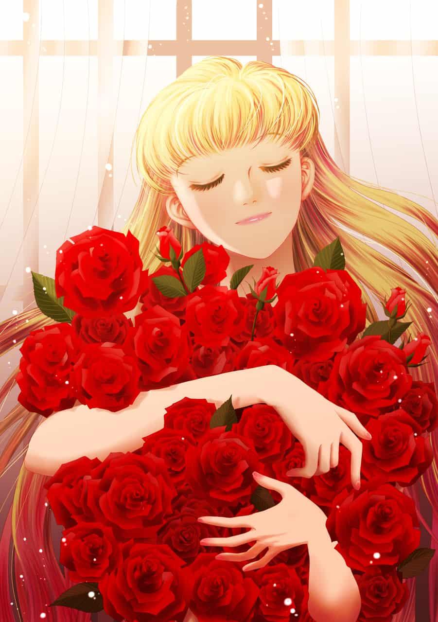 メディバンありがとう Illust of onigiri_japan July2020_Contest:Anniversary rose girl ありがとう 恋人 贈り物