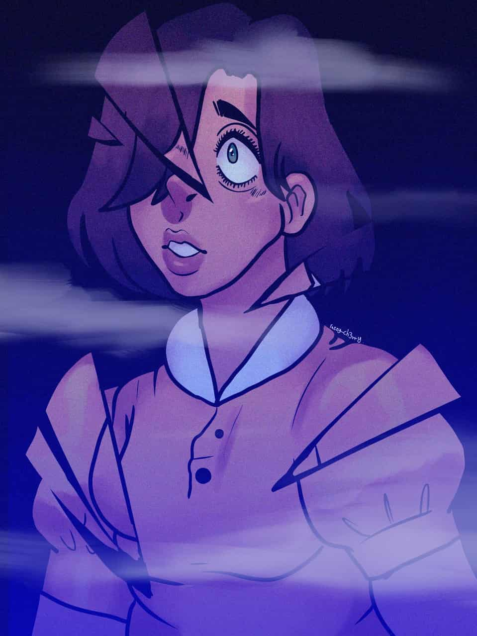 Goretober day 19: broken glass (repost)  Illust of ♣︎Ch3rry_Pi3♣︎|Edd dark Fuzzy_ch3rry girl Mist eyes medibangpaint blue Goretober creepy gore