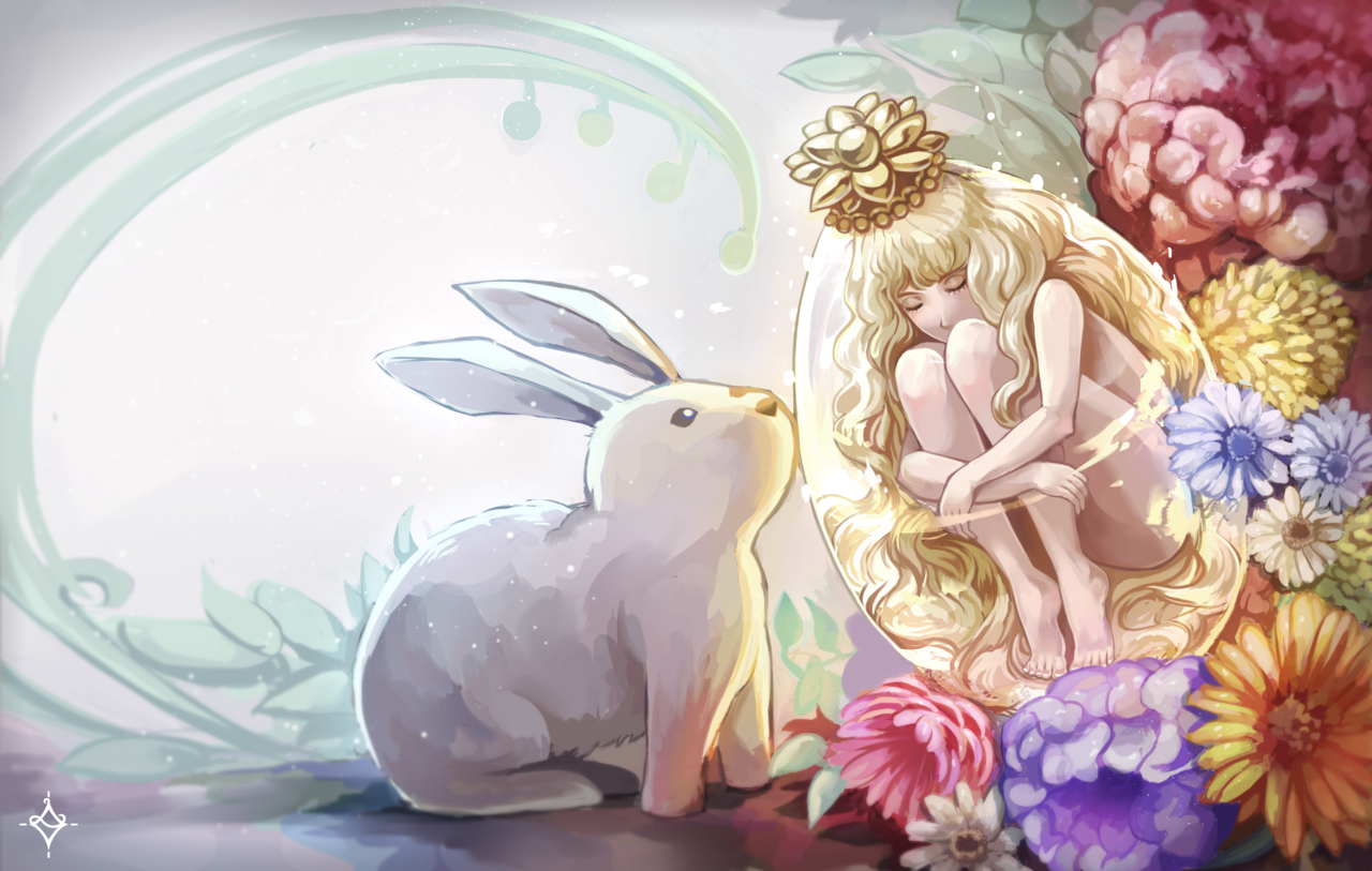 Rebirth of the Hare Princess Illust of Licialurie March.2020Contest:Easter flower blonde springtime sleep egg bunny hare easter spring
