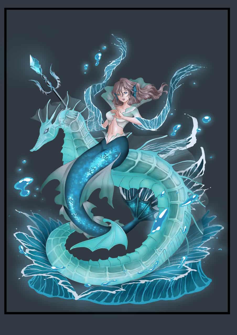 人魚姬 Illust of yt_00931013 Post_Multiple_Images_Contest mermaid 海馬 人魚姫 藍色 元素擬人化 nature woman 角色設計 water sea