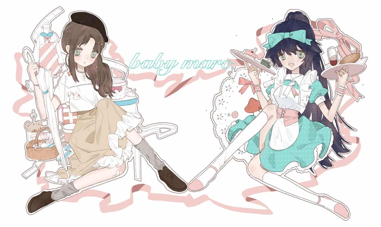 baby mero Illust of 九木口冬 甜美系 maid 双人