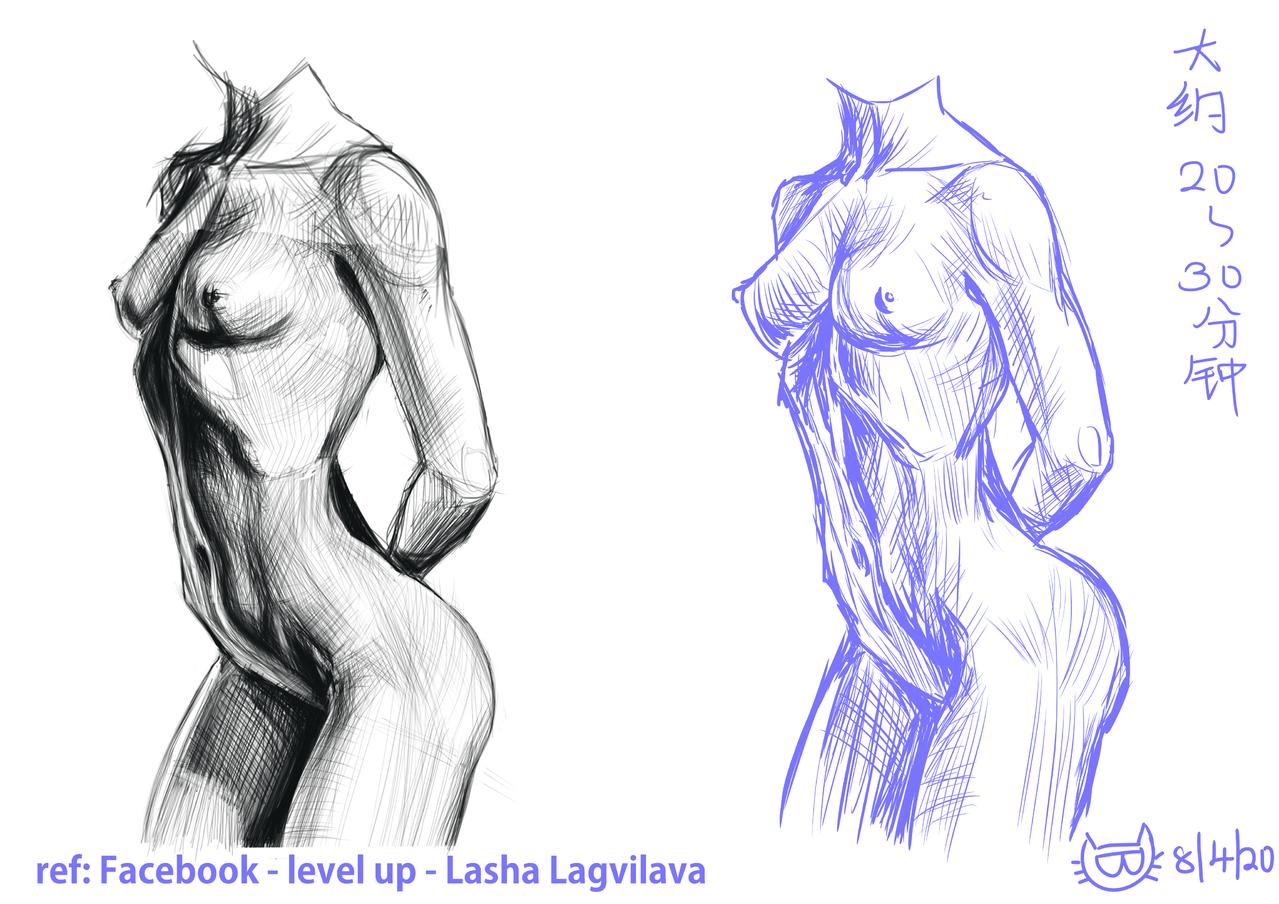 LEVEL UP- Lasha Lagvilava-人体防画 Illust of YAN镜猫 速写 practice YAN镜猫 女体 facebook levelup