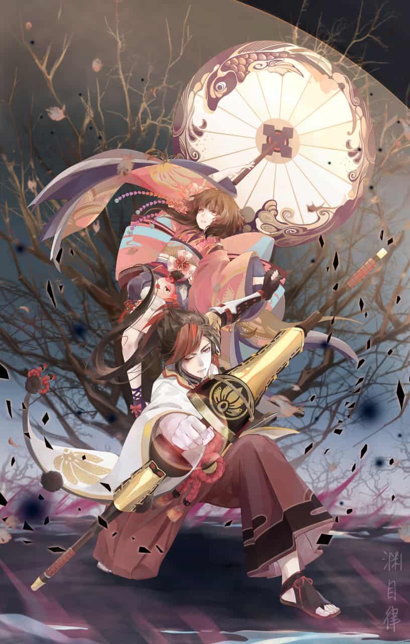 长夜漫漫 Illust of 渊目-ritsu boy girl 渊博雅 Kagura illustration Onmyouji