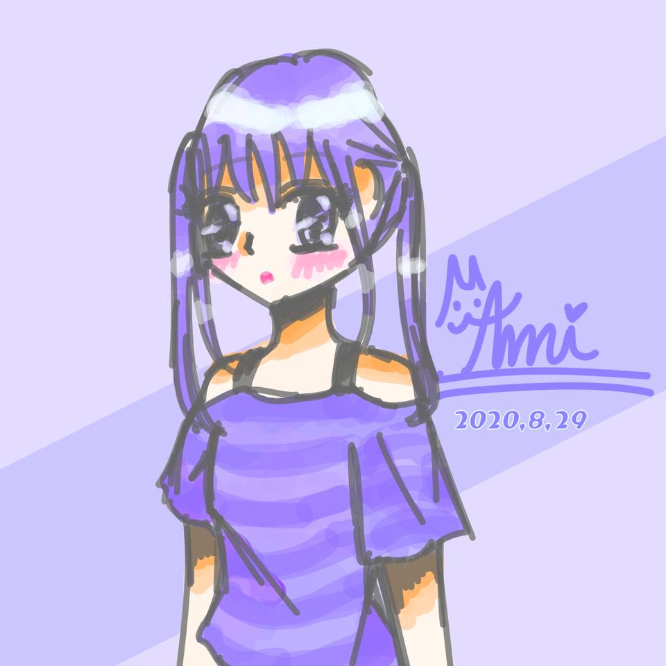 らくがき Illust of 𝔸𝕞𝕚ฅ( ̳• ·̫ • ̳ฅ) illustration twin_ponytails cutegirl smile doodle girl kawaii メディバンペイント