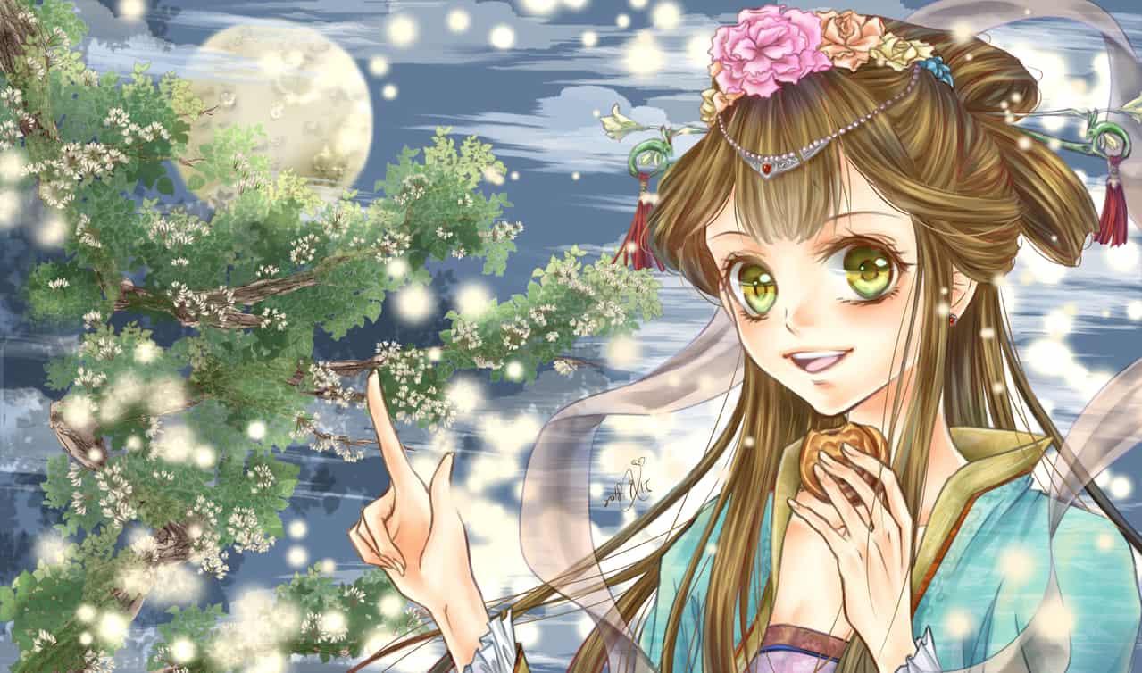 中秋賞月吃餅 Illust of α 古裝 girl 中國風 moon 中秋節