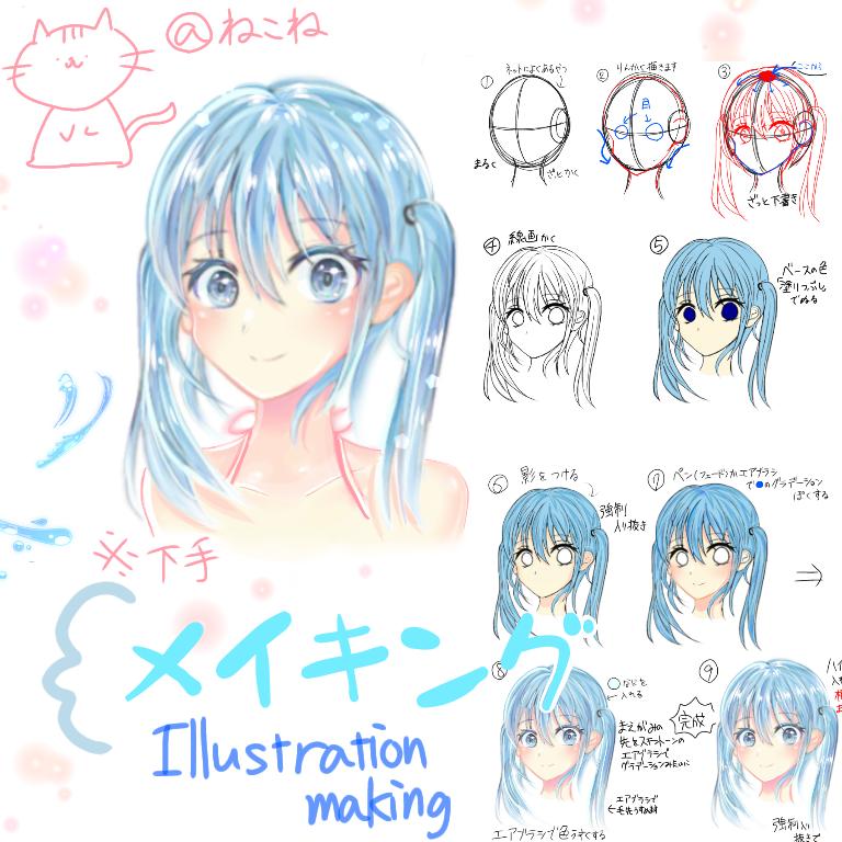 イラストメイキング(°▽°) Illust of と @反社会的革命団 メイキング girl イラストメイキング kawaii 水色 water