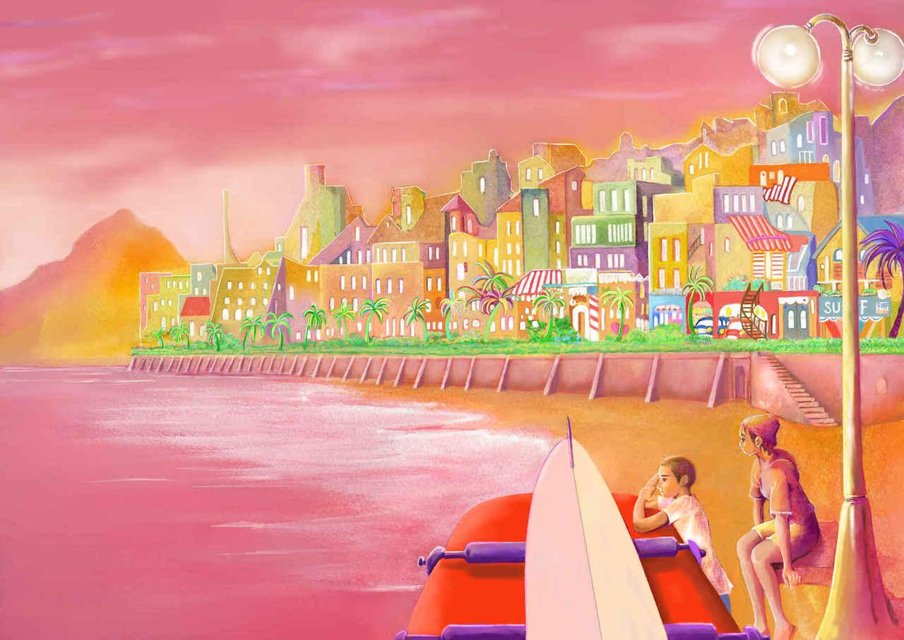 奇跡の夕陽 Illust of beach st pink girl サーフボード 夕陽 サーフィン summer 町の景色 sea boy