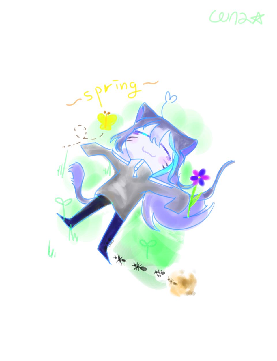 Spring come🌱🌼💐💮 Illust of LUNA☆_루나 medibangpaint oc original 귀여운캐릭터 self-portrait kawai 예쁜캐릭터 봄 spring
