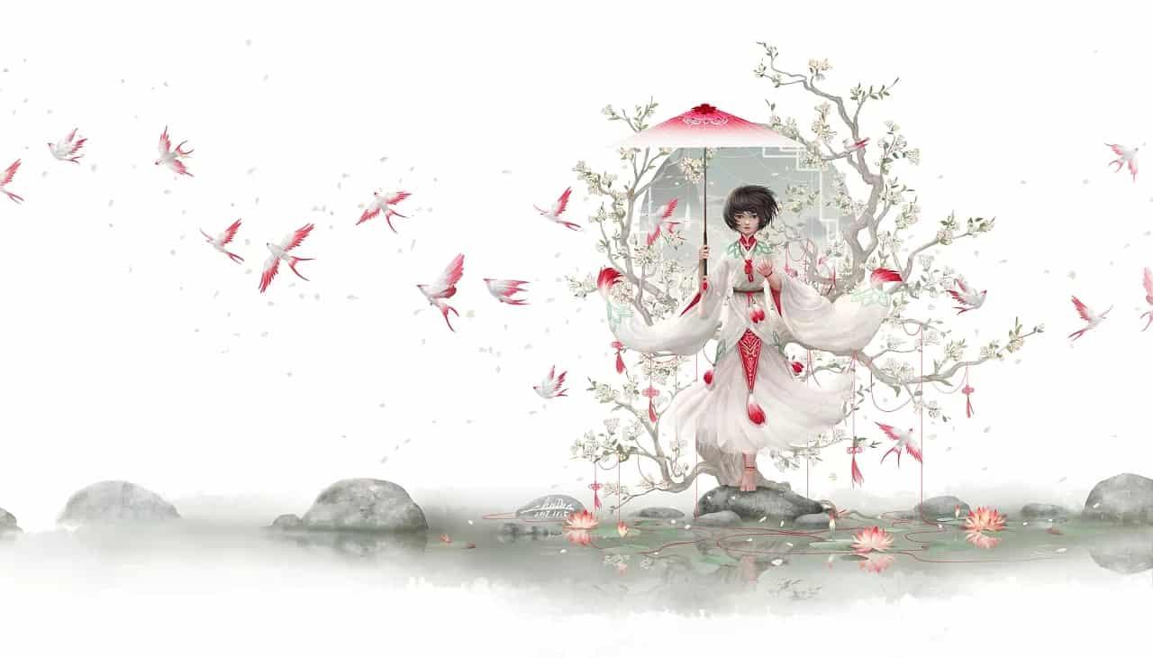 《无人知晓的故事——空。境》 Illust of 朱儿 山川 梦境 东方意境 飞鸟 东方故事