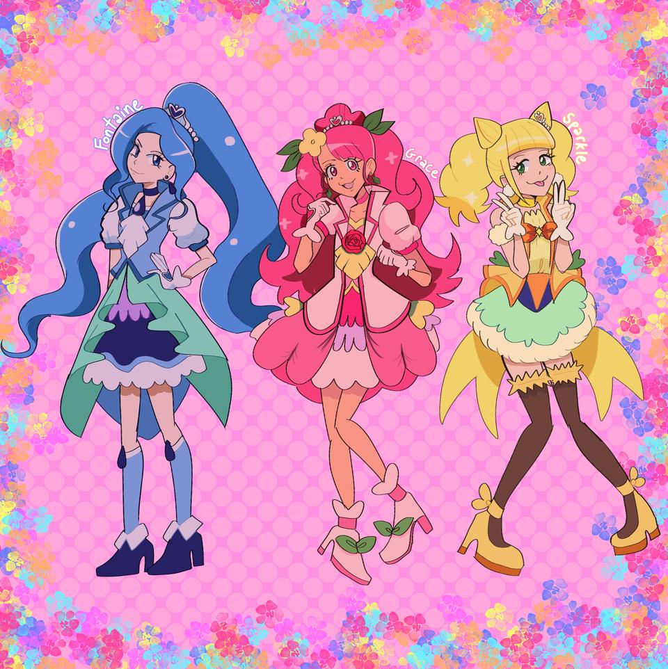 Healin' good!  Illust of gummyshark medibangpaint キュアスパークル anime Fontaine ヒーリングっどプリキュア Grace Sparkle キュアフォンテーヌ キュアグレース Precure