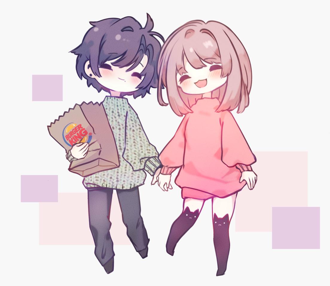 (⁄ ⁄•⁄ω⁄•⁄ ⁄) Love you my dear Illust of R E O N anime pastel drawing couple medibangpaint chibi art kawaii oc cute