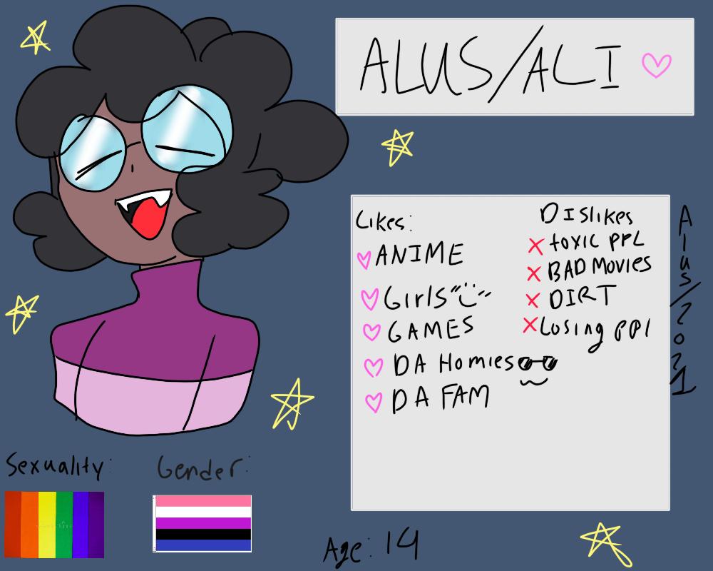 Meet the artist!!!! Illust of ali-chi | Alus uwu (Fundy Mode) Persona oc Alus Genderfluid meettheartist Gay AfricanAmerican Transgender