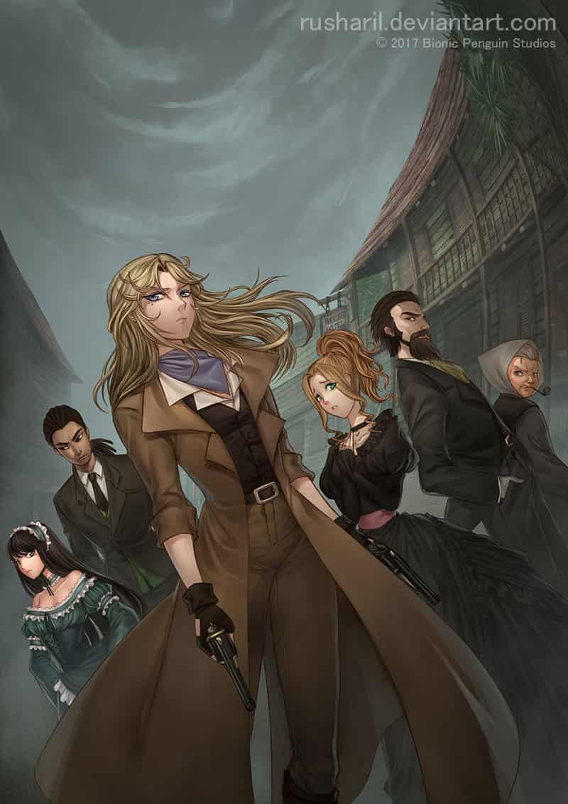 The Falconers: Moonlight Illust of Rusharil fantasy Post_Multiple_Images_Contest gothic monster fantasyart Dark dark femalecharacter