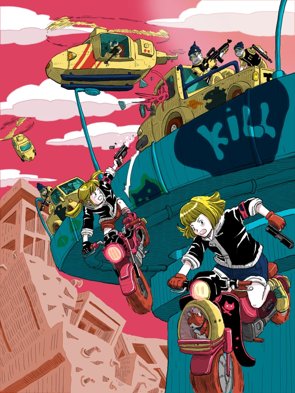 My friend me and our  gang fight in dystopia world Illust of Wutikai action November2020_Contest:Cyberpunk friend motorbike Dystopia Japanese_style cyberpunk Mechanic girl Gun city fight
