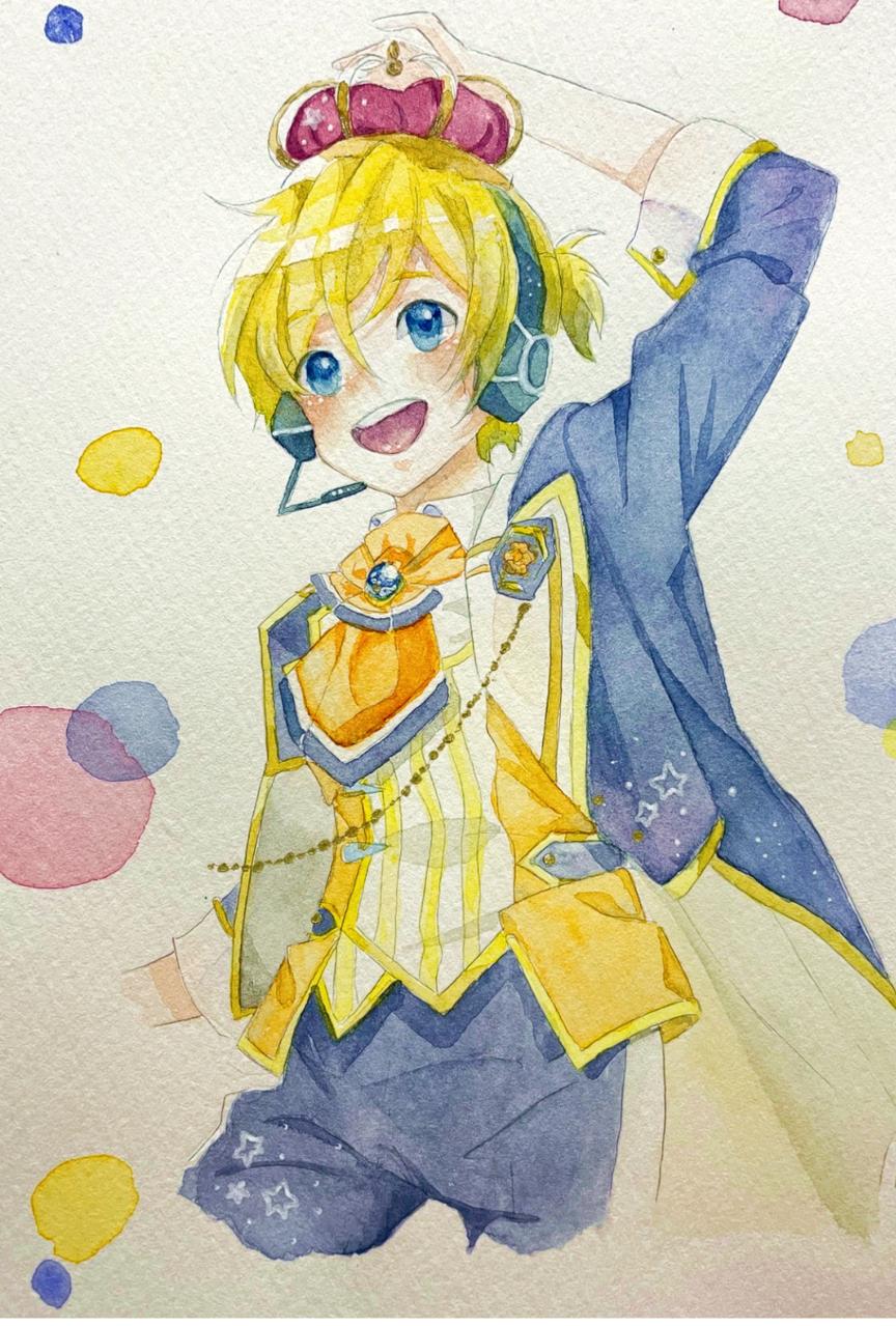 鏡音レン Illust of メル medibangpaint VOCALOID KagamineLen アナログ boy cute illustration watercolor yellow character