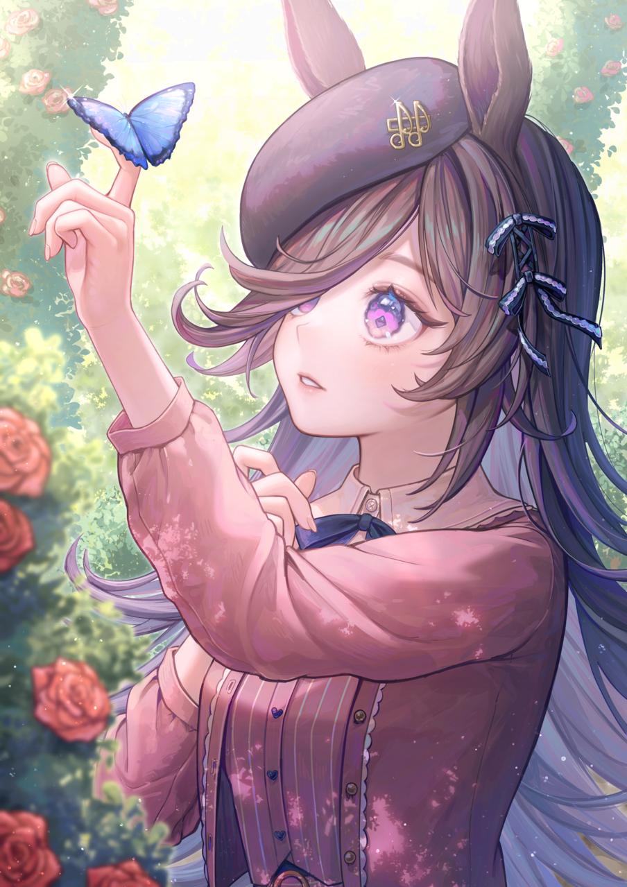 🦋 Illust of Tamaki rose girl ライスシャワー butterfly fanart umamusume