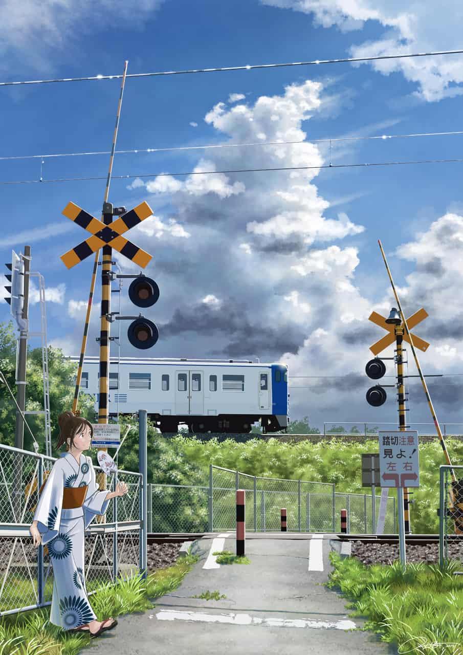 架線越しの空 Illust of ふじいえだいご Jul.2019Contest clouds 鉄道 scenery background