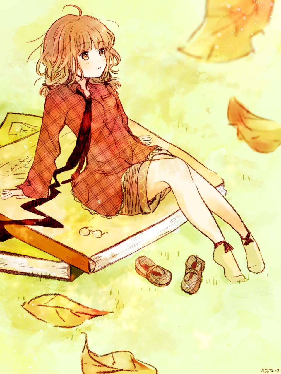 秋は読書の季節 Illust of 月名なつき Sep.2019Contest original 本 読書 autumn girl 落ち葉 小人