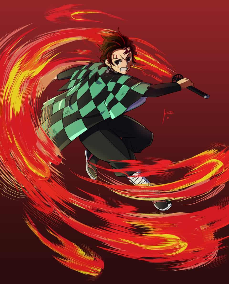 Kamado Tanjiro - Danza del Dios del fuego!! Illust of KoDaru DemonSlayerFanartContest anime fanart KamadoTanjirou fire illustration KimetsunoYaiba