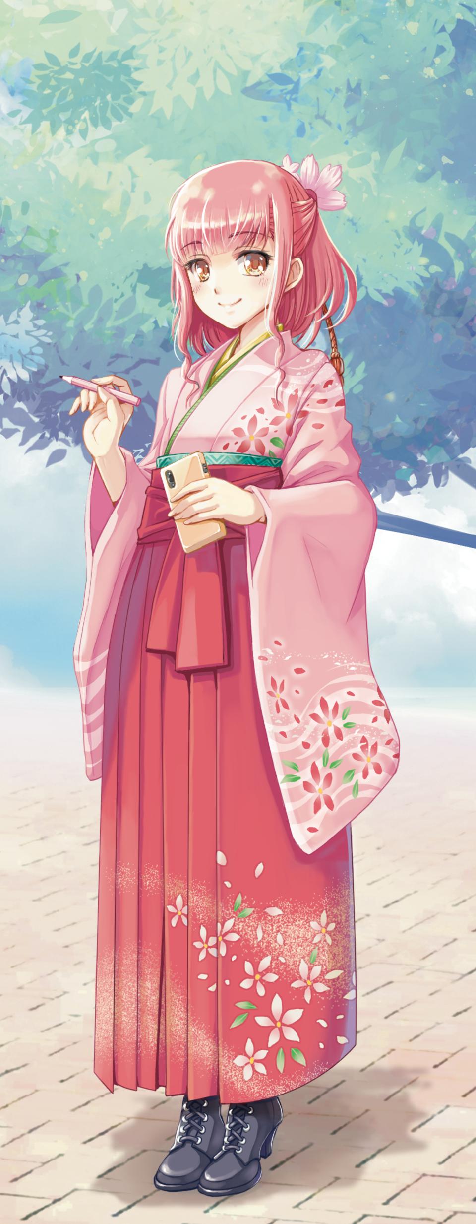 PASTEL_SKETCH2020 PINK Illust of 雄 PASTEL_SKETCH2020 girl Japanese_style 袴 kimono original