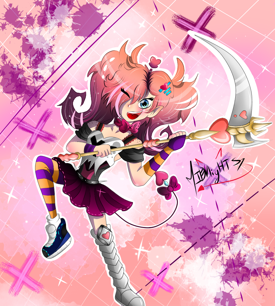 ★°•New Oc ★Evangelio🗡️ Illust of MidnightS7 2018 cuenta inactiva medibangpaint pink demon midnightS7 girl oc