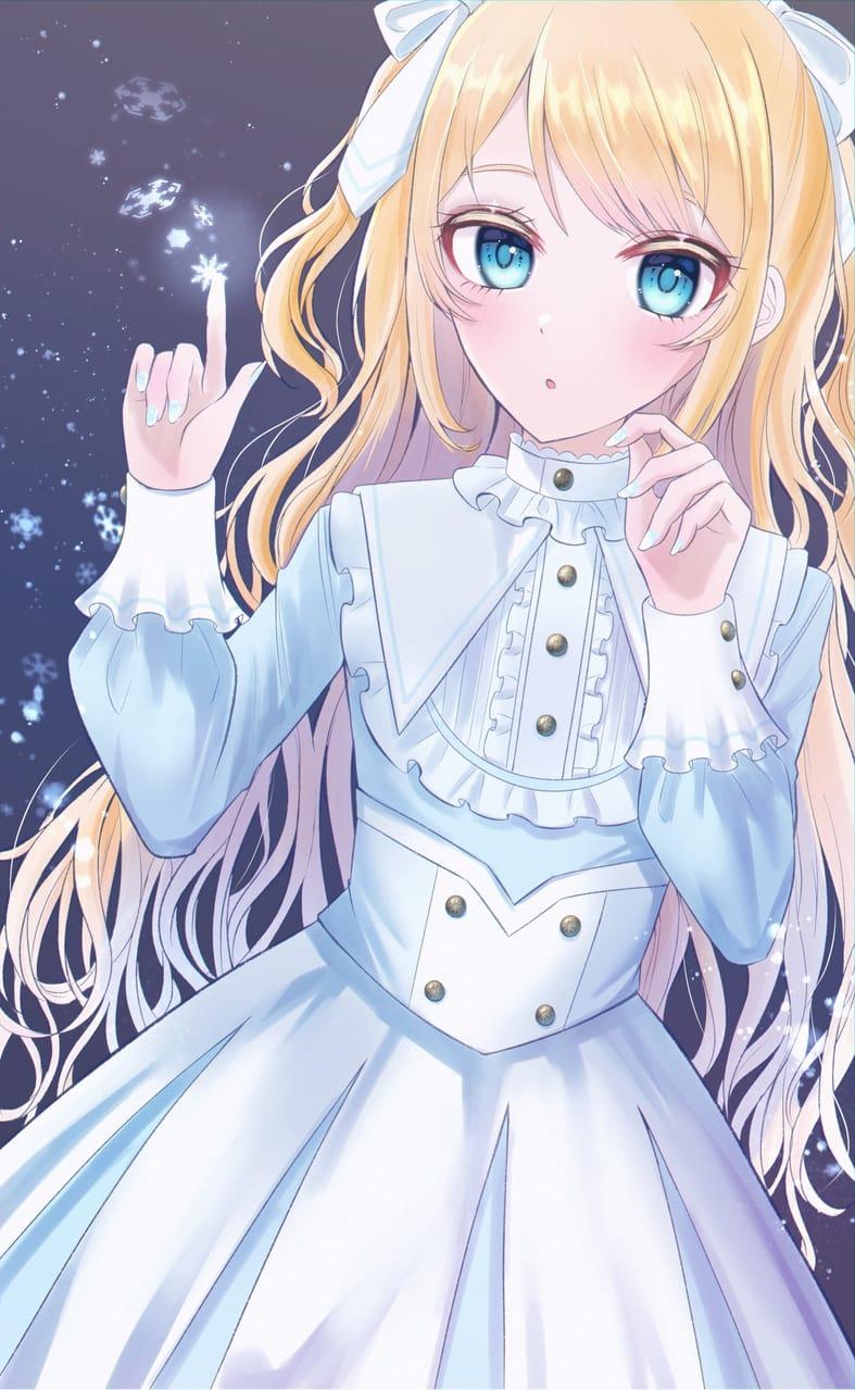 雪の降る夜、君に会えた。 Illust of じゅにねう snow girl 金髪碧眼 original