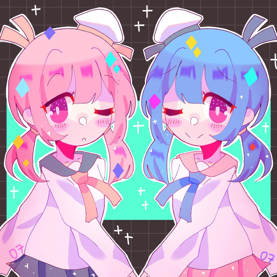redraw :00 Illust of pErSon pink girl oc blue medibangpaint anime pinkhair