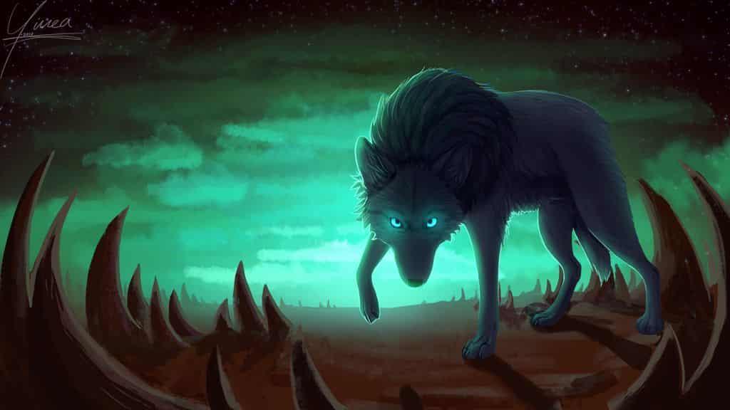 Spiked wasteland Illust of Yinea wolf Wasteland Photoshop Fur Dark anime blue Spikes zombie black