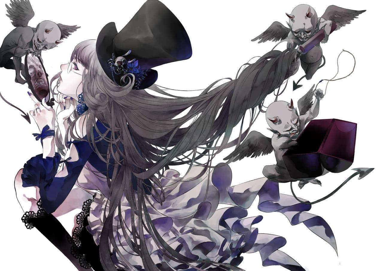 Girl & fairy Illust of Lita Orenji girl painting black dark illustration witch Goblin medibangpaint doodle