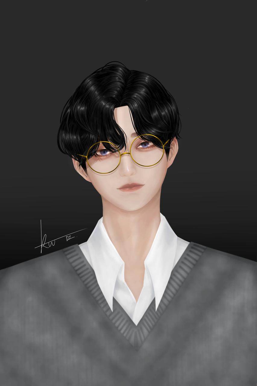❤ Illust of Rowan(로완) 유혈 glasses 재업 무테 boy 반실사 흑발