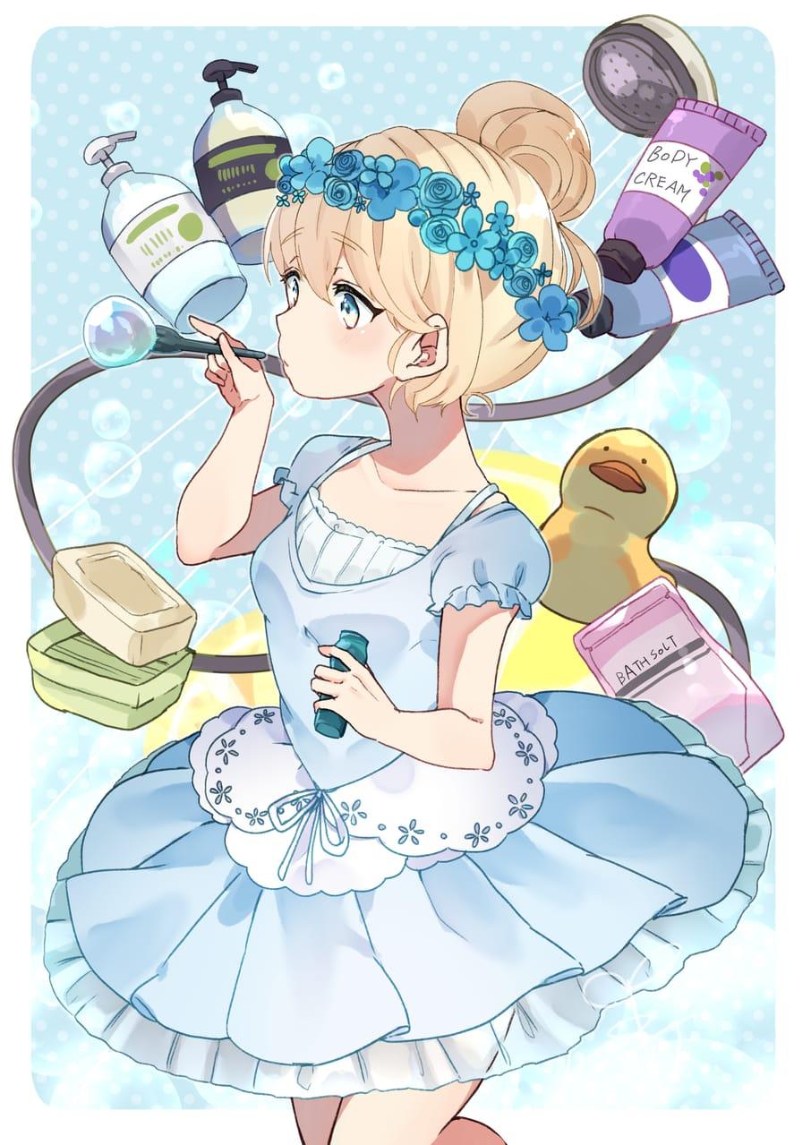 BATH TIME! Illust of クスノキ original girl シャボン玉 blonde blue 金髪碧眼