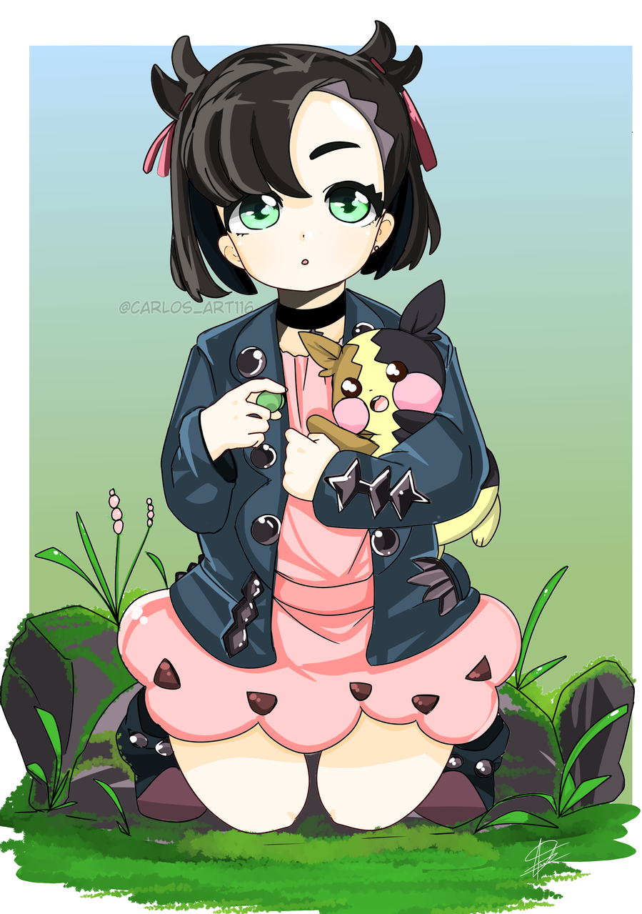 fanart (Marnie and morpeko) Illust of Carlos art 116カルロス medibangpaint anime マリィ(トレーナー) fanart pokegirl kawaii illustration swordandshield Marnie pokemon