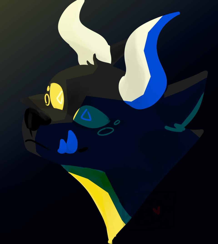 prize 1/2 for spink Illust of Skye Finch (•♬• sᴏᴄᴋ-ʙᴀɪᴛ™ •♬•) medibangpaint horns hybrid teeth black yellow triangle bust creature