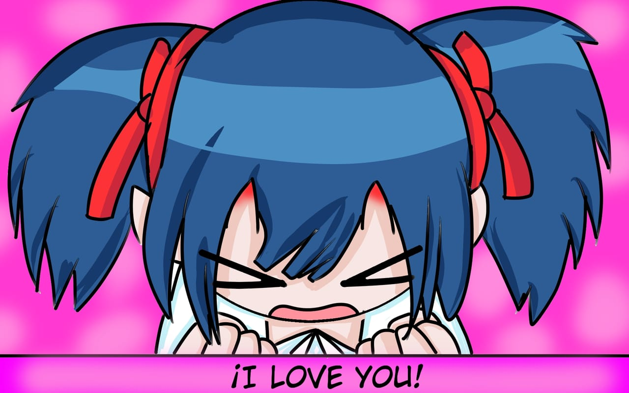 I Love You .Follow me, please!!! Illust of Stiben-San kawaii girl friend artist fanart happy