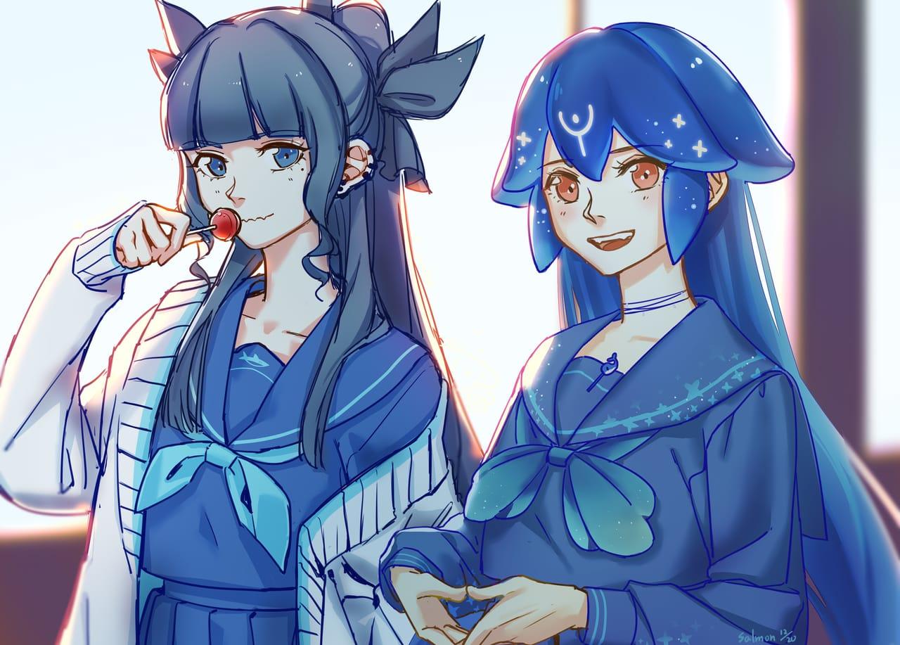 Artemis and Bao Illust of Salmon virtual_YouTuber Artemis bao
