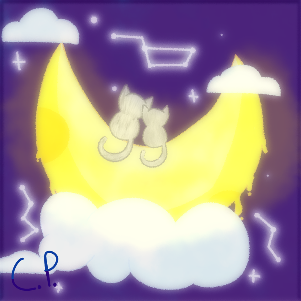 Smth me and my mom made Illust of Creampuffu ☹ै blue ibispaint animal aesthetic cute moon cat Sparkly digital space
