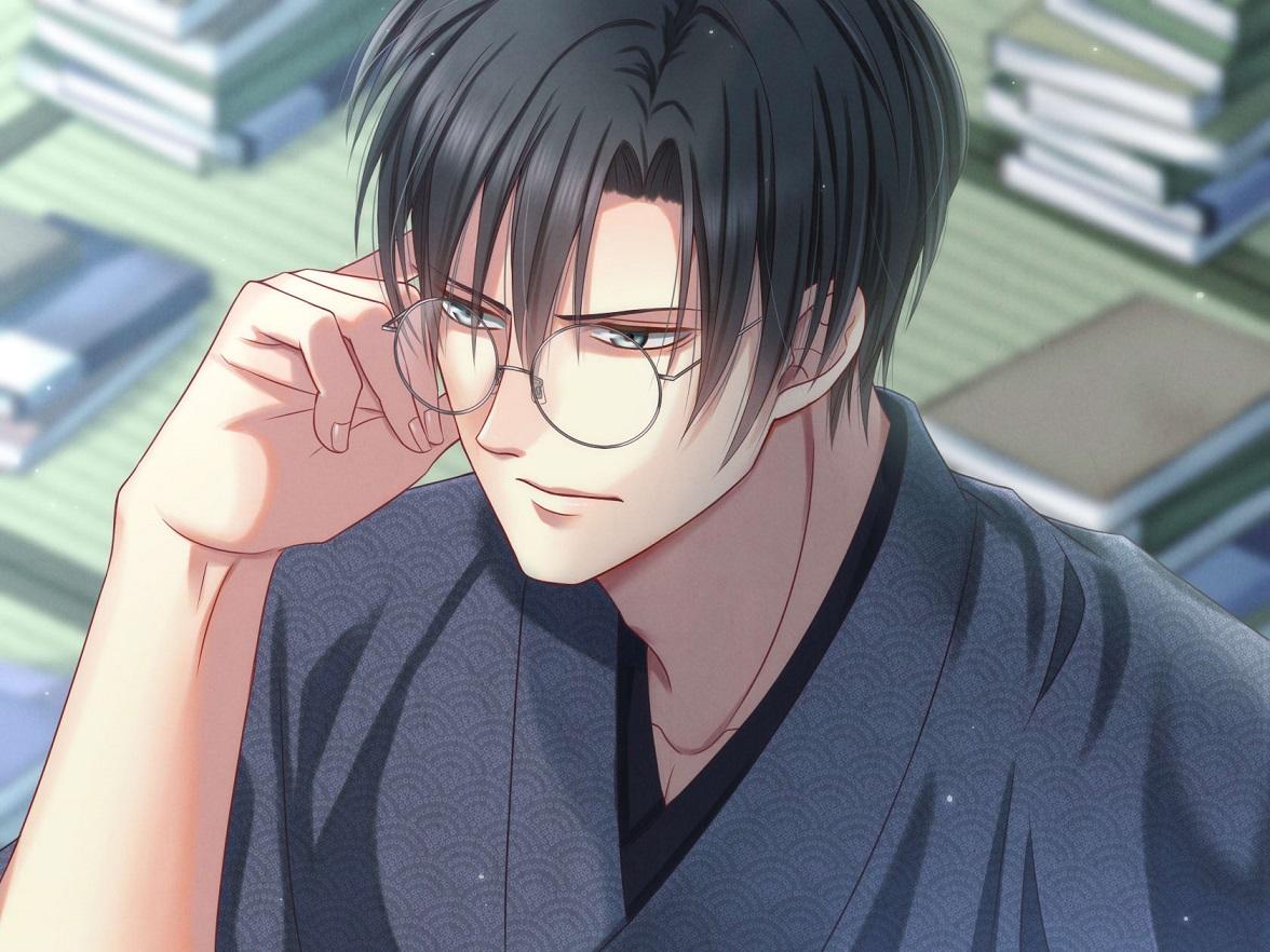 眉間にシワが… Illust of 瑠璃森 しき花(元izumi) oc 青年 和室 Japanese_style female kimono 一次創作 和服男子 original glasses