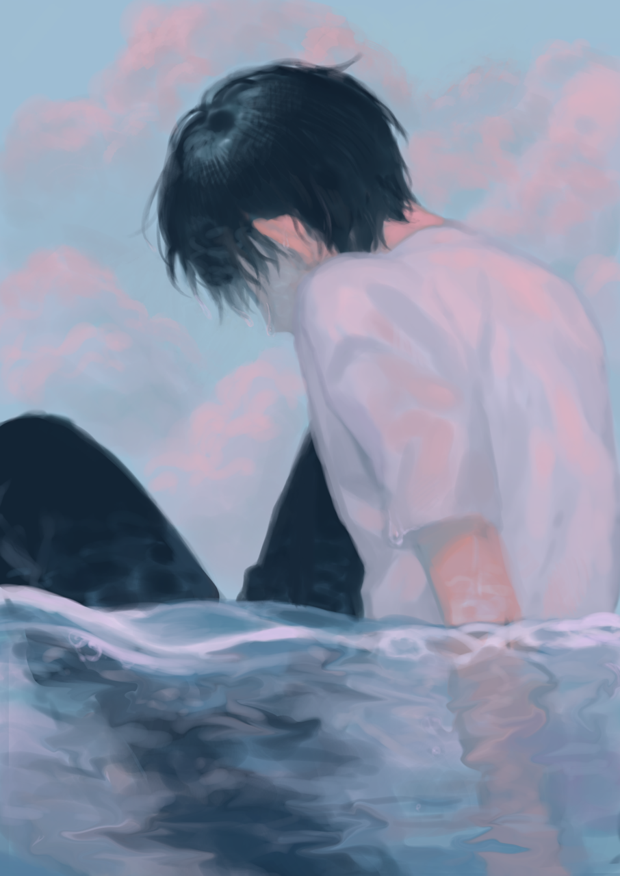Blue Illust of Akn original blue originalart oc summer sea
