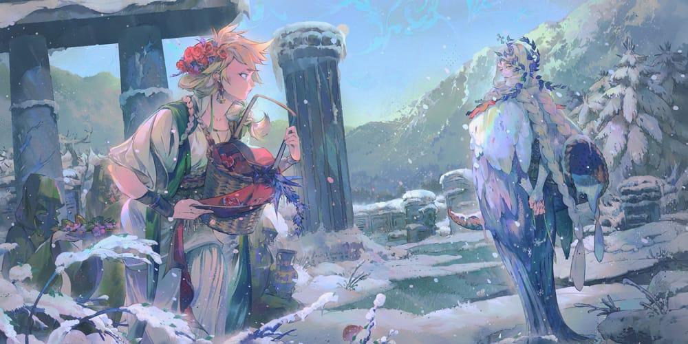 Hades Illust of lsu snow fanart pillar tree winter white braids grass